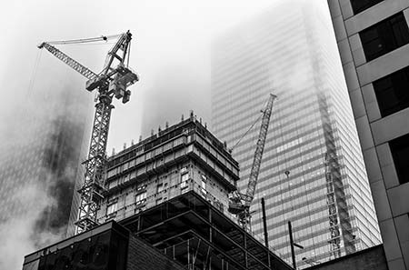 High Rise Construction in financial district of Toronto,Canada.
