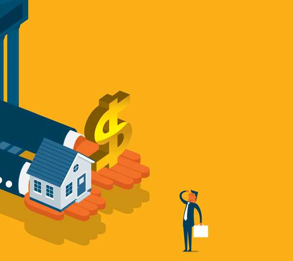 Illustration of bank and a real estate investor